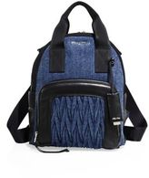 Miu Miu Leather Trim Denim Backpack