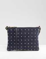 Asos Leather And Suede Pin Stud Cross Body Bag