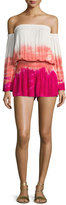 Young Fabulous and Broke Estelle Tie-Dye Ombré Off-the-Shoulder Romper, Hibiscus Water Ripple