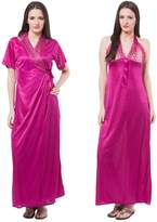 Fasense Women's Satin 2 Pcs Set Of Nighty & Robe