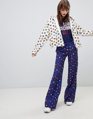Love Moschino Heart Print flared trousers-Blue