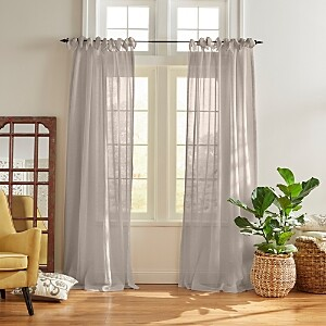 Elrene Home Fashions Vienna Tie-Top Sheer Curtain Panel, 52 x 84