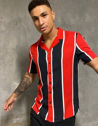 New Look viscose wide stripe short sleeve shirt in red