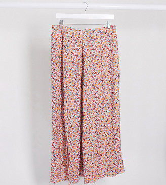 ASOS DESIGN Maternity double split maxi skirt in pink ditsy floral print
