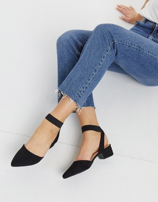 Qupid pointed mid heeled shoes in black