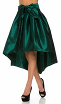 SOHO GLAM Forest Pleated High-Low Taffeta Midi-Skirt (Plus Sizes Available)