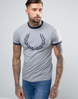 Fred Perry Laurel Wreath Print Ringer T-shirt In Grey Marl