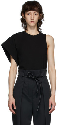 3.1 Phillip Lim Black Asymmetric Sleeve T-Shirt