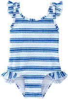Joe Fresh Baby Girls' lemlem Essential Ruffle Swimsuit, Turquoise (Size 6-12)