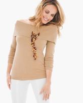 Chico's Foldover-Neck Mandie Pullover in Heather Arabian Camel
