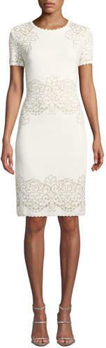 St. John Laurel Short-Sleeve Damask-Jacquard Body-Con Dress w/ Scallop Trim