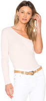 Central Park West Bel Air One Shoulder Sweater in Blush. - size L (also in M,S,XS)