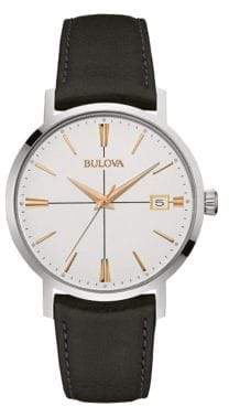 Bulova Classic Analog Stainless Steel & Black Leather Strap Watch