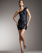 One-Shoulder Leather Dress