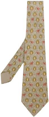 Hermes Pre-Owned Leaves & Deer Print Tie