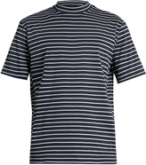 Lanvin Close-neck striped-cotton T-shirt