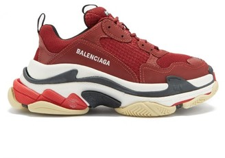Balenciaga Triple S Leather And Mesh Trainers - Burgundy