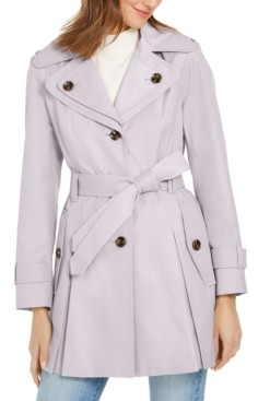 London Fog Petite Hooded Water-Resistant Trench Coat
