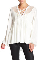 Romeo & Juliet Couture Eyelet Yoke Peasant Blouse