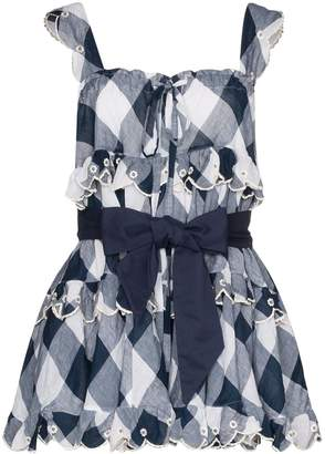 Innika Choo Iva gingham scalloped mini dress