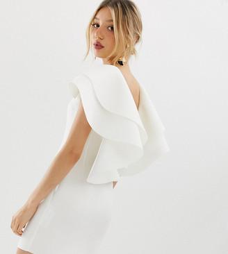 Asos DESIGN Petite open back mini dress with double ruffle