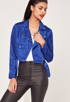 Missguided Faux Suede Biker Jacket Cobalt Blue