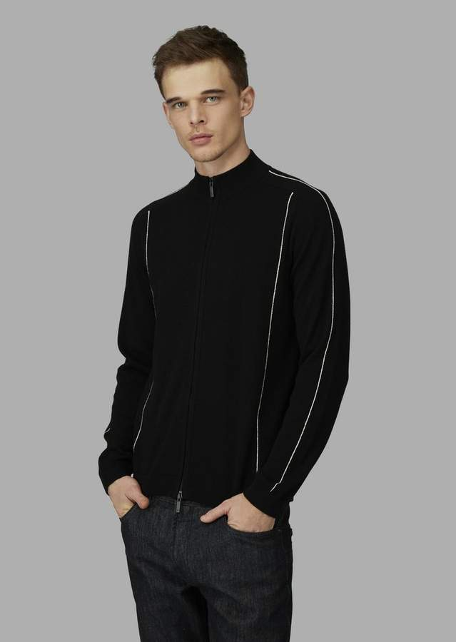 Giorgio Armani Full Zip Cardigan In Cashmere With Contrasting Piping