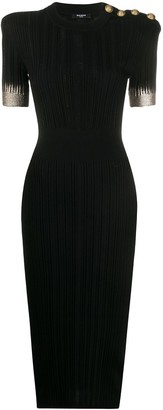 Balmain Ribbed Metallic Detail Fitted Dress