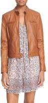 Joie 'Dezra' Band Collar Leather Jacket