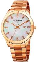 Akribos XXIV Women's Rose-Tone Case with Genuine Swarovski Crystals and Mother-of-Pearl Dial on Rose-Tone Stainless Steel Bracelet Watch AK954RG
