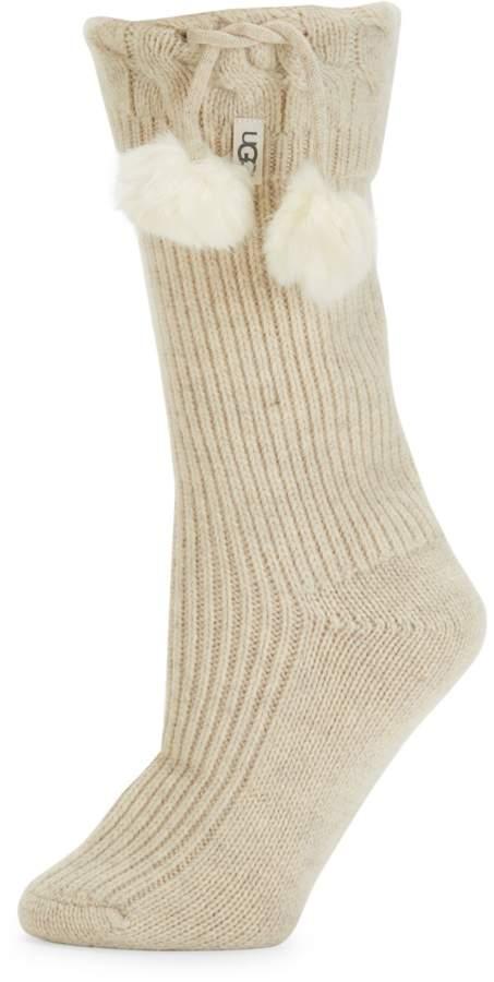 6b1dbec60c5 Faux-Fur Pom-Pom & Ribbed Rainboot Socks