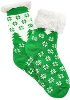 Angelina Green Snowflake Fleece-Lined Slipper Socks