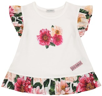 Dolce & Gabbana Kids Floral ruffled cotton jersey T-shirt