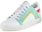 Sophia Webster Riko Leather Low-Top Sneaker, White/Spearmint