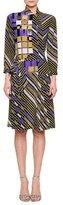 Bottega Veneta Asymmetric Button-Front Sheath Dress, Lavender/Black