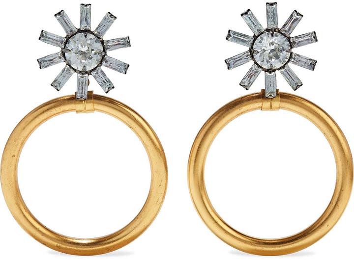 Elizabeth Cole Fayth 24-karat Gold And Hematite-plated Swarovski Crystal Earrings