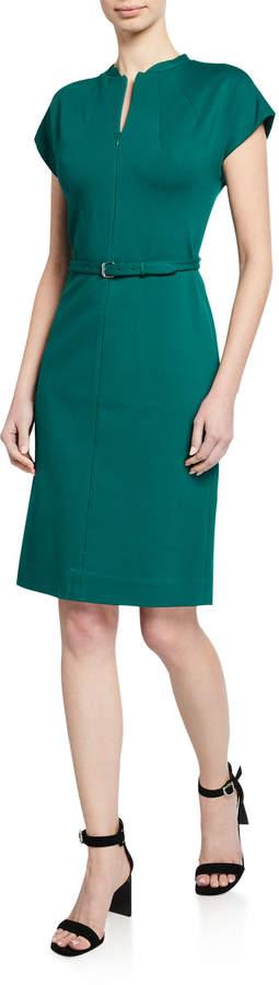 Diane von Furstenberg Maizah Zip-Front Cap-Sleeve Belted Dress