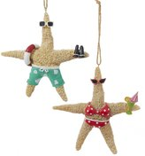 Kurt Adler Whimsical Beach Starfish Couple in Swimsuits Christmas Holiday Ornament Set of 2