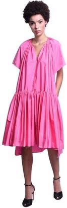 DELPOZO V Neck Taffeta Knee Length Dress