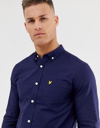 Lyle & Scott logo long sleeve oxford shirt in navy