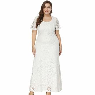 QPXZ Maxi Dress Large Size Summer Long Lace Dress Female 4XL 5XL 6XL Sexy Round Neck Short Sleeve Dress-White_8XL