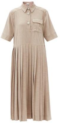 Ganni Crystal-buttoned Pleated Melange Midi Dress - Light Beige