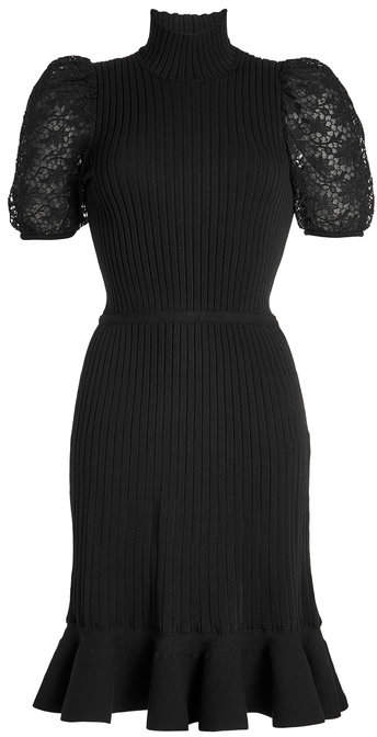 Giambattista Valli Knit Dress with Lace Sleeves