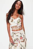 Missguided White Floral Lace Up Wrap Around Crop Top
