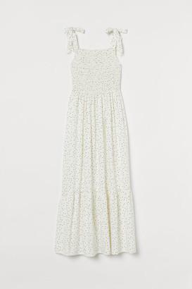 H&M Smocked Cotton Dress - White