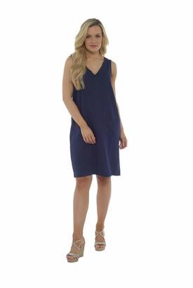 Indigo Roc Ladies V Neck Linen Blend Summer Sleeveless Knee Length Shift Dress (UK 22