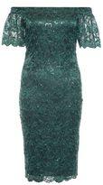 Quiz Green Sequin Lace Bardot Midi Dress