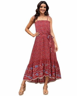 ABYOXI Dresses for Women Casual Summer Boho Floral Dress Floral Print Adjustable Spaghetti Strap Sun Dress Red S