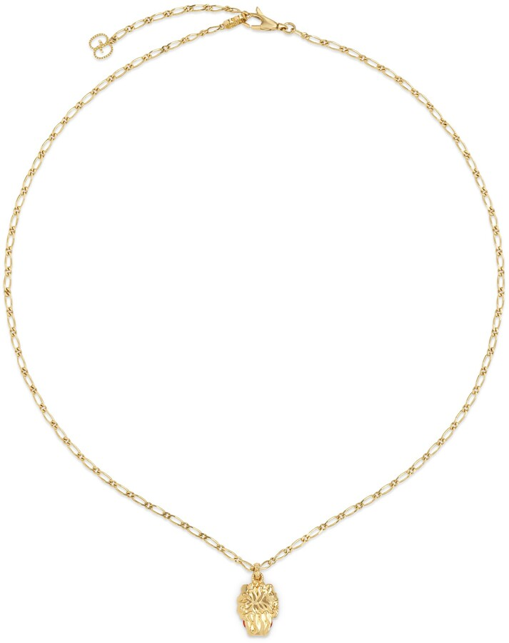 Thumbnail for your product : Gucci Yellow gold lion head necklace