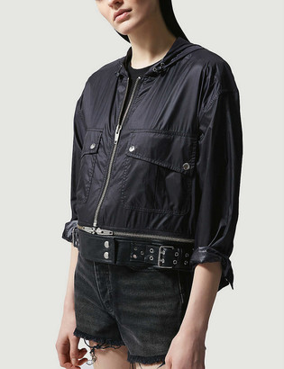 The Kooples Cropped detachable-belt shell jacket